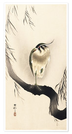 Poster Heron on a weeping willow