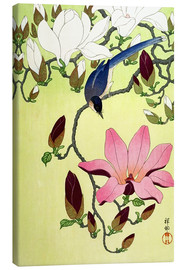 Tableau sur toile  Magpie with Pink and White Magnolia Blossoms - Ohara Koson