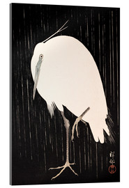 Verre acrylique  White Crane in the rain - Ohara Koson