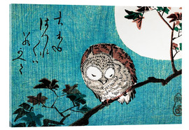 Verre acrylique  Sleeping Owl full moon - Ohara Koson