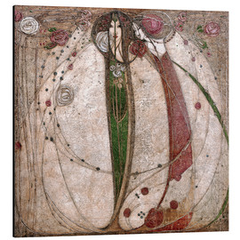 Tableau en aluminium  La Rose blanche et la Rose rouge - Margaret MacDonald Mackintosh