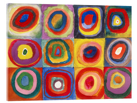 Verre acrylique  Colour Study - Squares and concentric rings - Wassily Kandinsky
