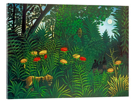 Verre acrylique  Exotic landscape with tiger and hunters - Henri Rousseau