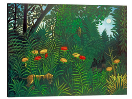 Alu-Dibond  Exotic landscape with tiger and hunters - Henri Rousseau