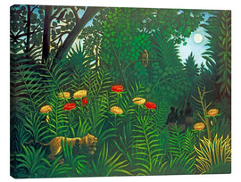 Toile  Exotic landscape with tiger and hunters - Henri Rousseau