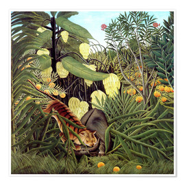 Poster  Combat of Tiger and Buffalo - Henri Rousseau