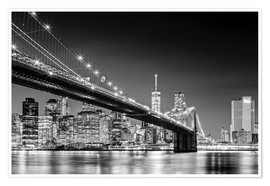 Sascha Kilmer - Brooklyn Bridge with Manhattan Skyline (monochrome)