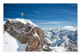 Poster  Top of Zugspitze mountain top with snow in winter - Sheila Haddad