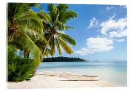 Verre acrylique  Beach with palm trees and turquoise ocean in Tahiti - Jan Christopher Becke