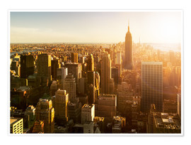 Poster Manhattan skyline in NY at sunset