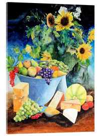 Verre acrylique  Still life with sunflowers, fruits and cheese - Gerhard Kraus