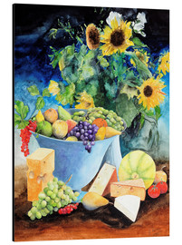 Alu-Dibond  Still life with sunflowers, fruits and cheese - Gerhard Kraus