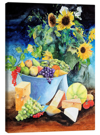 Toile  Still life with sunflowers, fruits and cheese - Gerhard Kraus