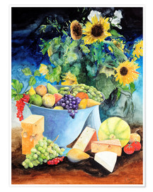 Poster Still life with sunflowers, fruits and cheese