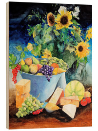 Bois  Still life with sunflowers, fruits and cheese - Gerhard Kraus