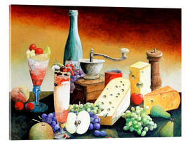 Tableau en verre acrylique  Stil life with coffee grinder, fruits and cheese - Gerhard Kraus