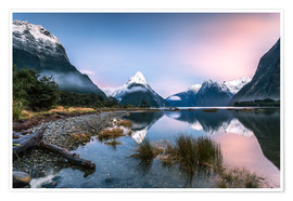 Poster  Sunrise at Milford Sound, NZ - Matteo Colombo