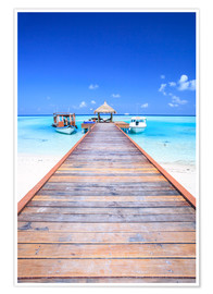 Poster  Pier into the ocean, Maldives - Matteo Colombo