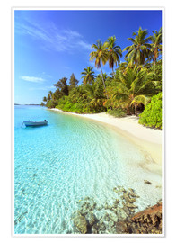 Poster  Tropical beach with a boat, Maldives - Matteo Colombo