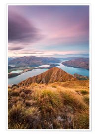 Poster  Awesome sunset over Wanaka lake from Mt Roy, Otago, New Zealand - Matteo Colombo