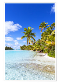 Poster Beautiful tropical beach with palms, One Foot Island, Cook Islands, Pacific