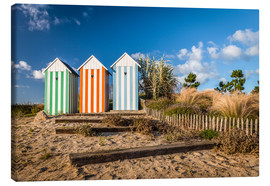 Tableau sur toile  Colorful beach huts in Brittany (France) - Christian Müringer