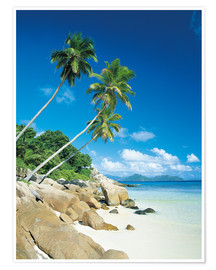 Poster Anse Severe With Praslin Island in Background, La Digue, Seychelles