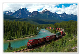 Poster  Morants Curve, Bow River, Canadian Pacific Railway, near Lake Louise, Banff National Park, UNESCO Wo - Hans-Peter Merten