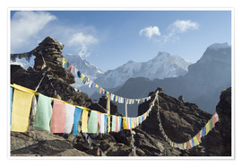 Poster  Prayer flags, view from Gokyo Ri - Christian Kober