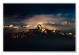 Poster  Machapuchare (Machhapuchhre) (Fish Tail) mountain, in the Annapurna Himal of north central Nepal, Ne - Mark Chivers