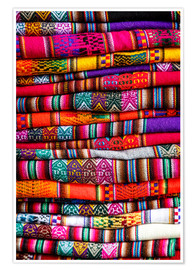 Poster  Woven blankets at a market, Cuzco - Yadid Levy