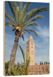 Tableau en bois  Minaret of the Koutoubia Mosque, UNESCO World Heritage Site, Marrakech, Morocco, North Africa, Afric - Nico Tondini
