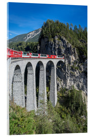 Tableau en verre acrylique  Landwasser Viadukt, Filisur, Graubunden, Swiss Alps, Switzerland, Europe - Angelo Cavalli