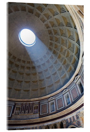 Tableau en verre acrylique  A shaft of light through the dome of the Pantheon, UNESCO World Heritage Site, Rome, Lazio, Italy, E - Martin Child