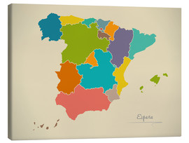 Tableau sur toile  Modern Map of Spain Artwork Design - Ingo Menhard