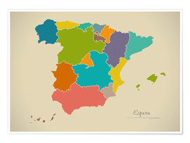 Poster Modern Map of Spain Artwork Design