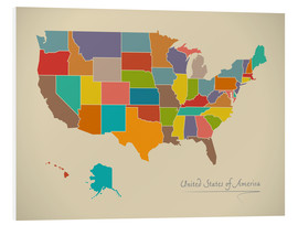 Tableau en PVC  Modern Map of USA Artwork Design - Ingo Menhard