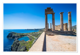 Poster  Acropolis of Lindos, Rhodes, Dodecanese Islands, Greek Islands, Greece, Europe - Michael Runkel