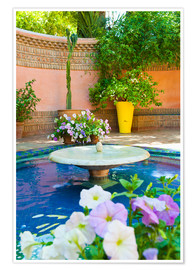 Poster  Fountain and flowers in the Majorelle Gardens (Gardens of Yves Saint-Laurent), Marrakech, Morocco, N - Matthew Williams-Ellis