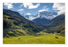 Poster High mountain valley at Riva di Tures South Tyrol (Italy)