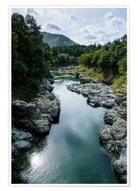 Poster River contributing water to the Marlborough Sounds, South Island, New Zealand, Pacific