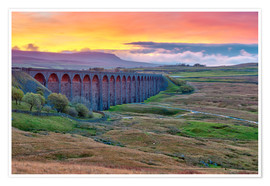 Poster Pen-y-ghent and Ribblehead Viaduct on Settle to Carlisle Railway, Yorkshire Dales National Park, Nor