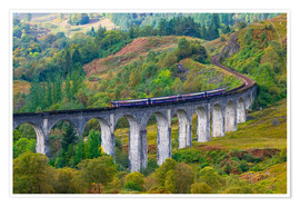 Poster Train on the Glenfinnan Railway Viaduct, part of the West Highland Line, Glenfinnan, Loch Shiel, Hig