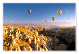 Poster  Hot air balloons over Cappadocia - David Clapp