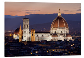Tableau en verre acrylique  Duomo at night from Piazza Michelangelo, Florence, UNESCO World Heritage Site, Tuscany, Italy, Europ - Stuart Black