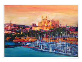 Poster  Spain Balearic Island Palma de Mallorca with Harbour and Cathedral - M. Bleichner