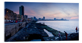 Tableau en verre acrylique  The Malecon, Havana, Cuba, West Indies, Central America