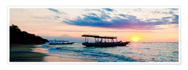 Poster  Mount Agung on Bali and fishing boats silhouetted against a sunset, Gili Trawangan, Gili Isles, Indo - Matthew Williams-Ellis