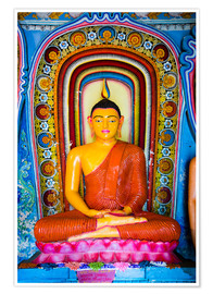 Poster  Colourful Buddha statue at Isurumuniya Vihara, Anuradhapura, UNESCO World Heritage Site, Sri Lanka,A - Matthew Williams-Ellis