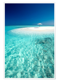 Poster  Tropical sandbank and sun umbrella - Sakis Papadopoulos